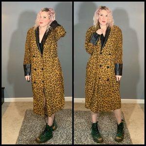 VINTAGE, leather trimmed, print coat!!